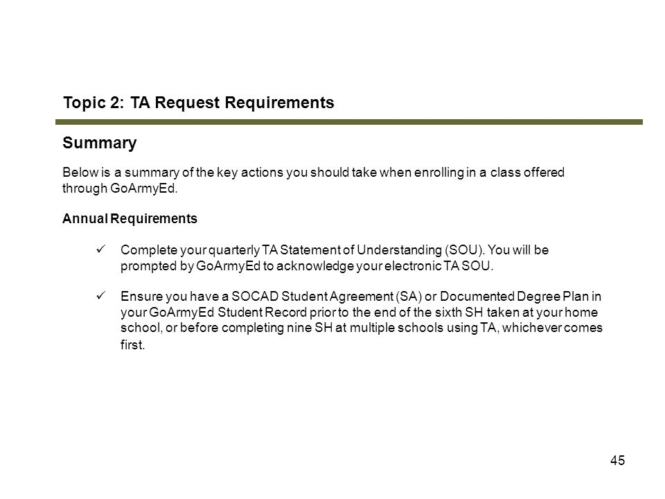 Topic 2: TA Request Requirements Summary
