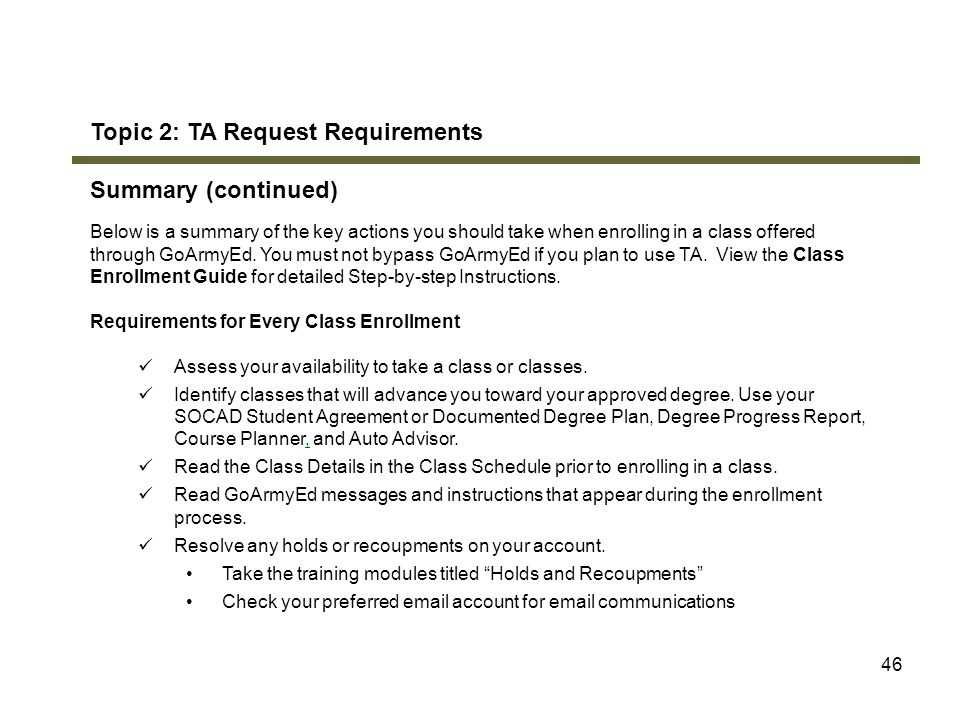 Topic 2: TA Request Requirements Summary (continued)
