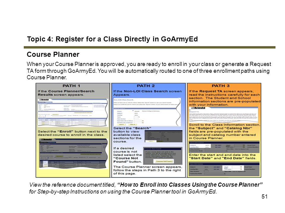 Topic 4: Register for a Class Directly in GoArmyEd Course Planner
