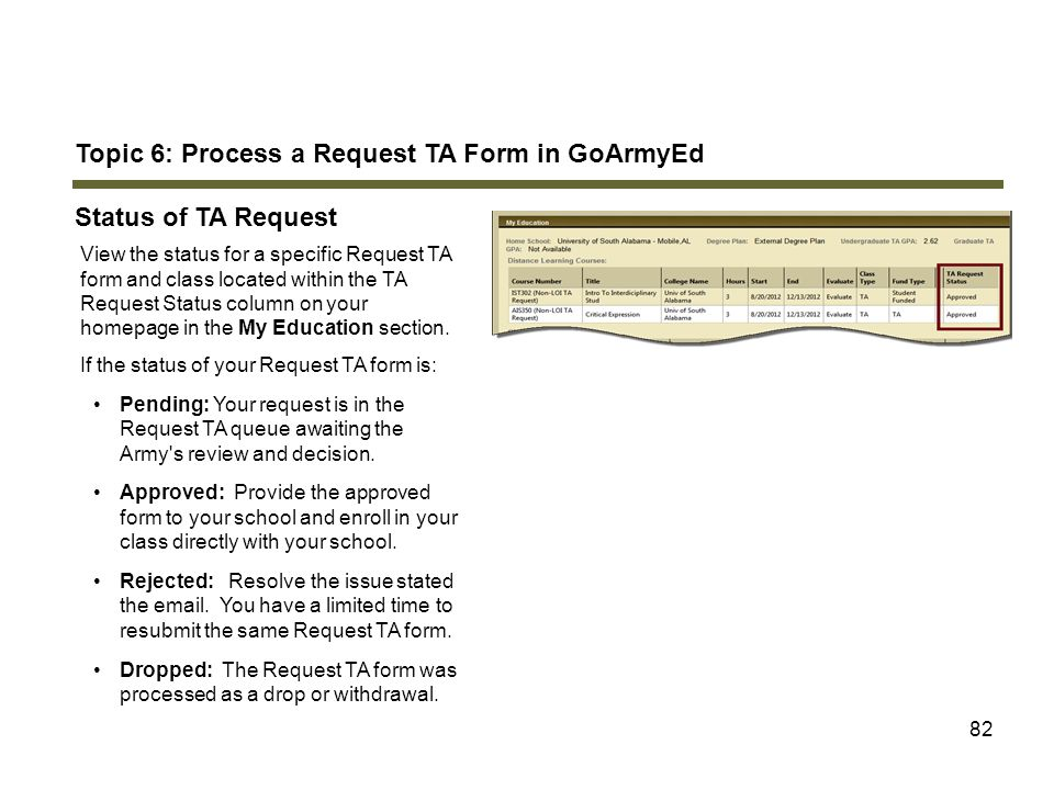 Topic 6: Process a Request TA Form in GoArmyEd Status of TA Request