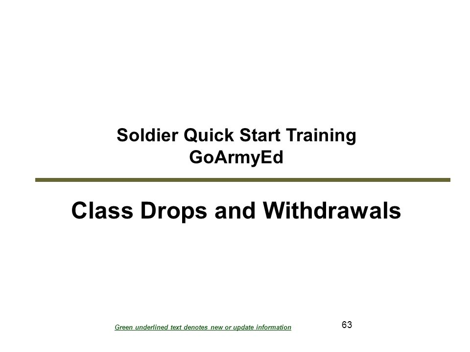 Soldier Quick Start Training Class Drops and Withdrawals