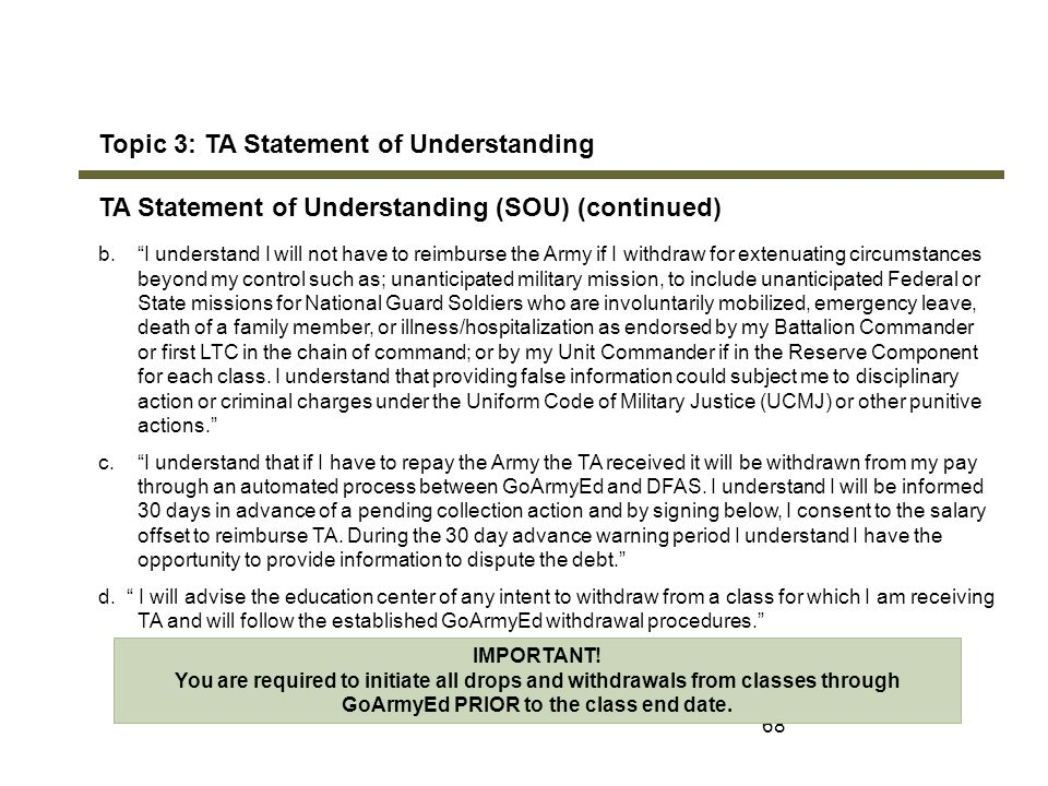 Topic 3: TA Statement of Understanding