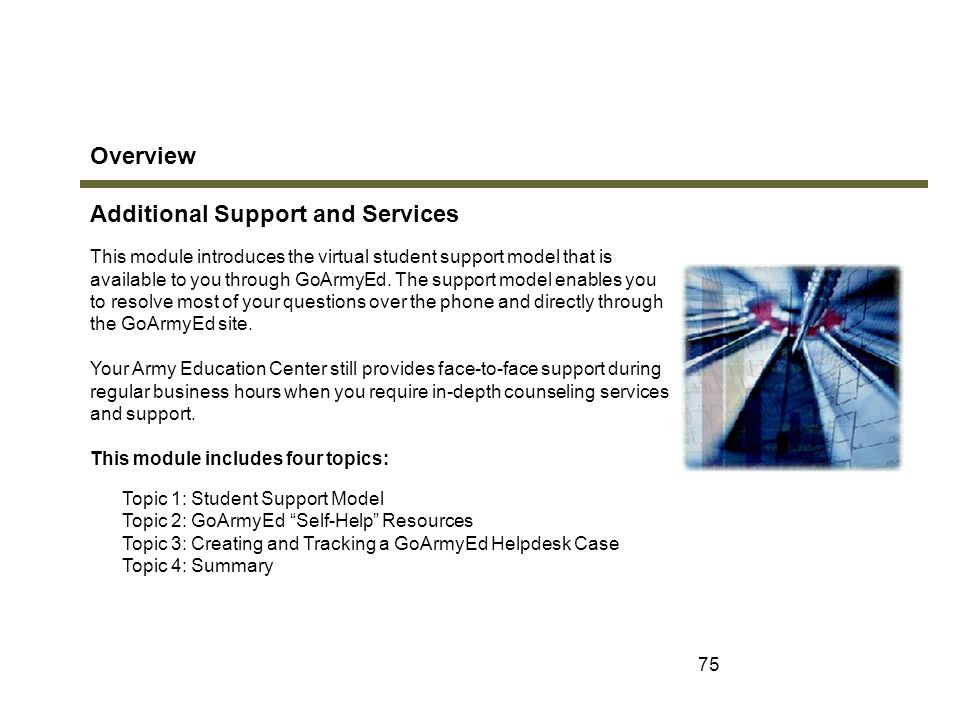 Additional Support and Services