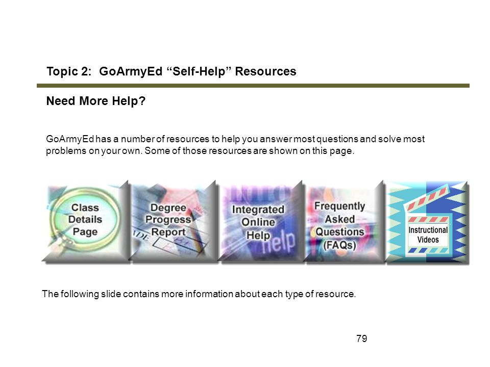 Topic 2: GoArmyEd Self-Help Resources Need More Help