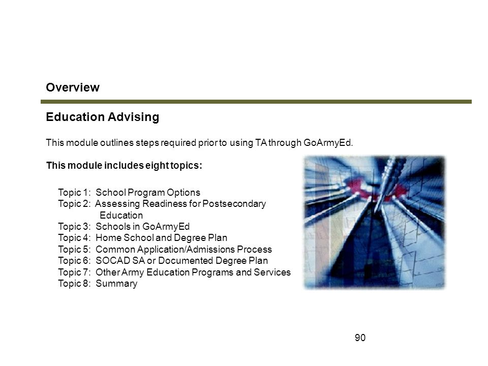 Overview Education Advising Module 2: Education Advising