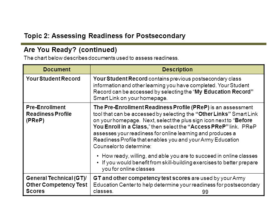 Topic 2: Assessing Readiness for Postsecondary