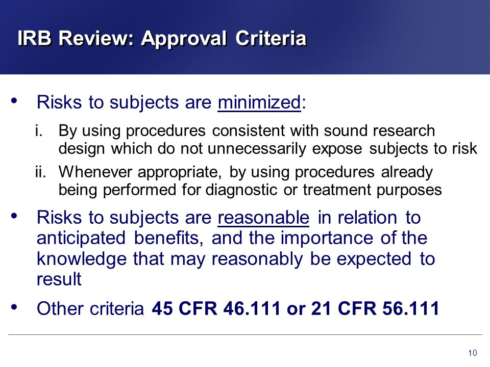 IRB Review: Approval Criteria