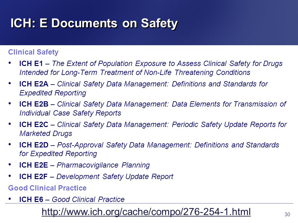 ICH: E Documents on Safety