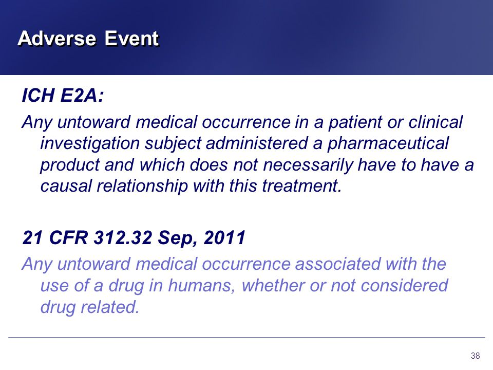 Adverse Event ICH E2A: 21 CFR 312.32 Sep, 2011
