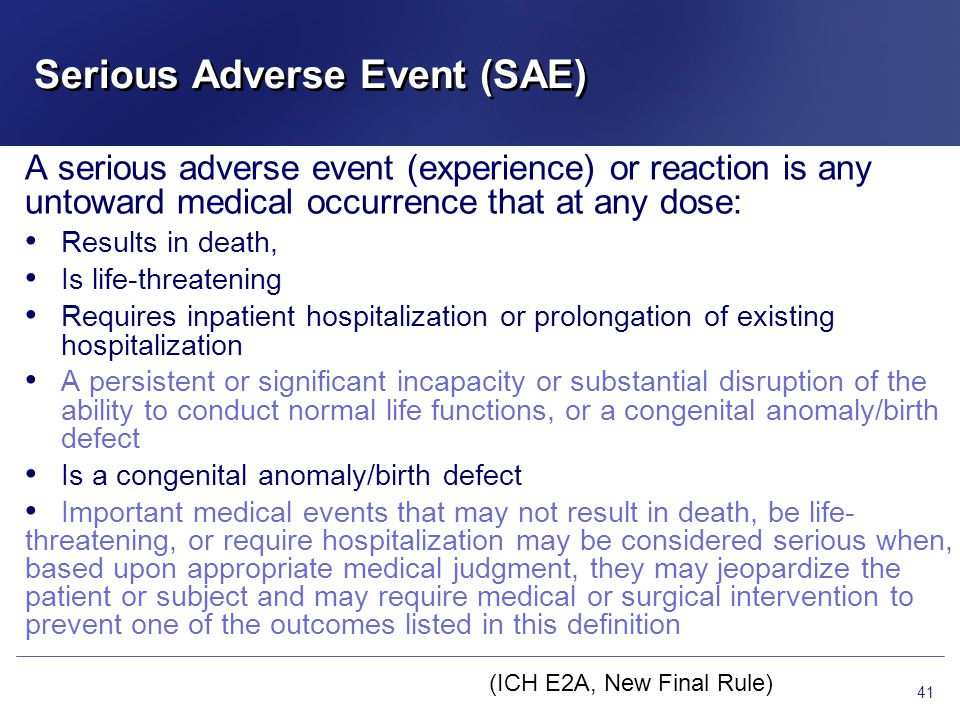 Serious Adverse Event (SAE)