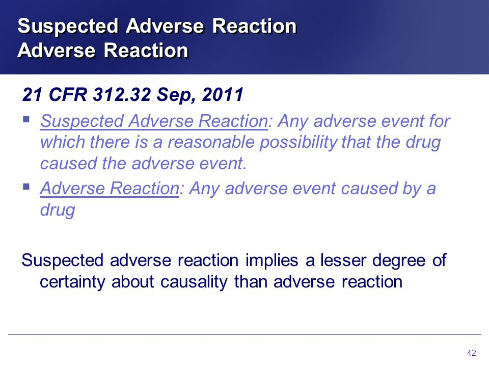 Suspected Adverse Reaction Adverse Reaction