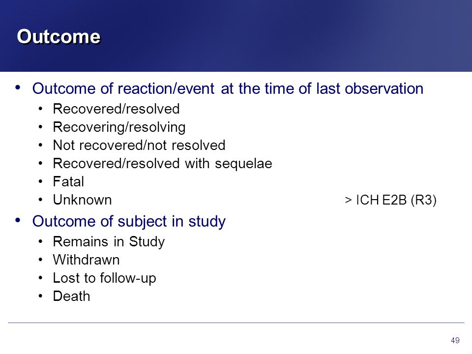 Outcome Outcome of reaction/event at the time of last observation