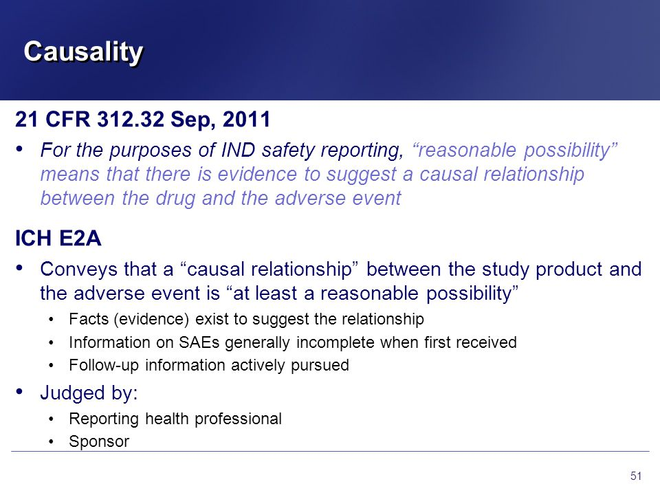 Causality 21 CFR 312.32 Sep, 2011 ICH E2A