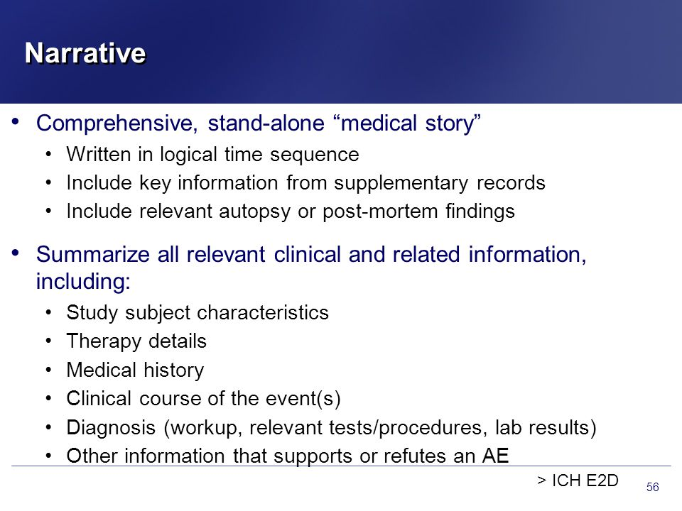 Narrative Comprehensive, stand-alone medical story