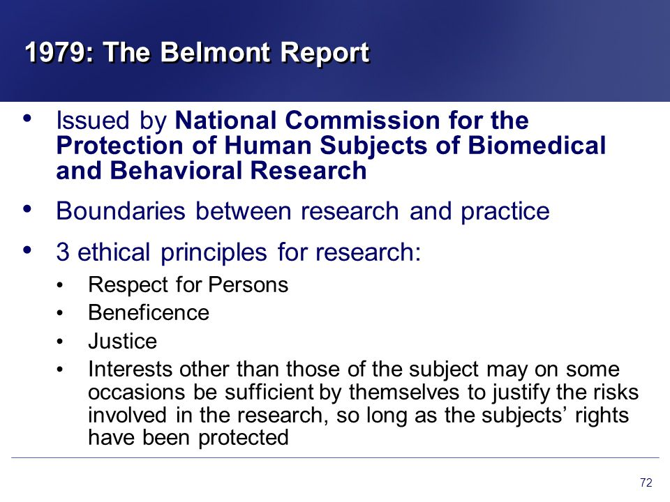 1979: The Belmont Report Issued by National Commission for the Protection of Human Subjects of Biomedical and Behavioral Research.