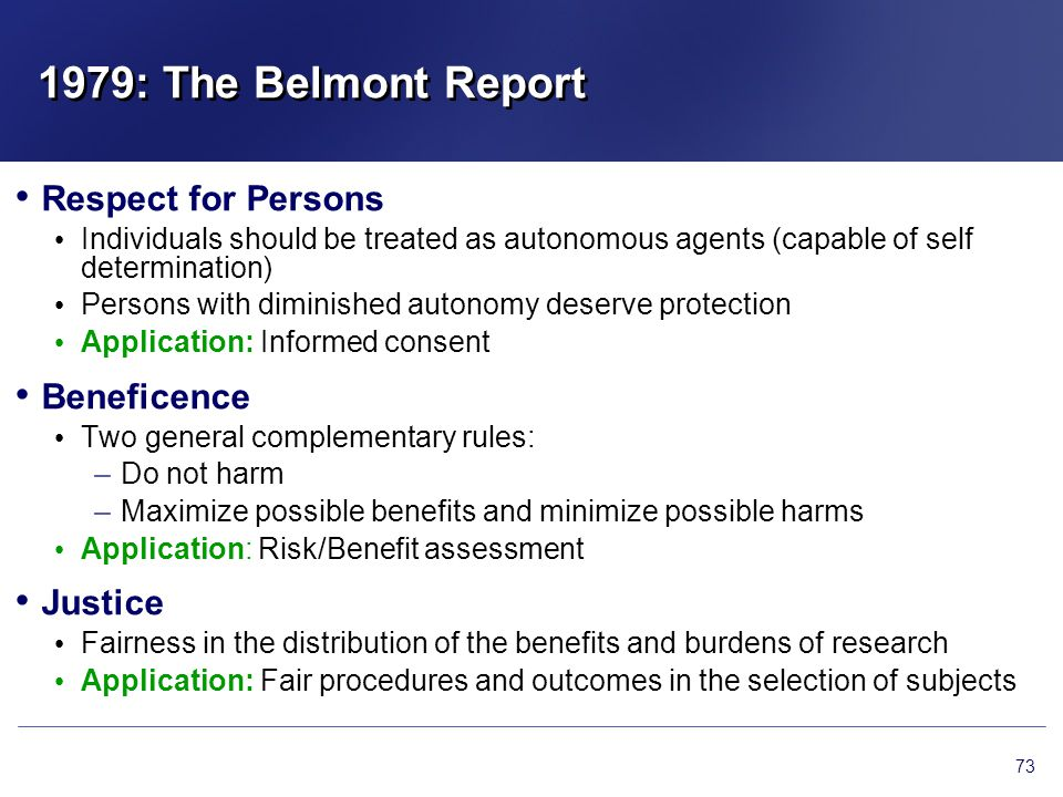 1979: The Belmont Report Respect for Persons Beneficence Justice
