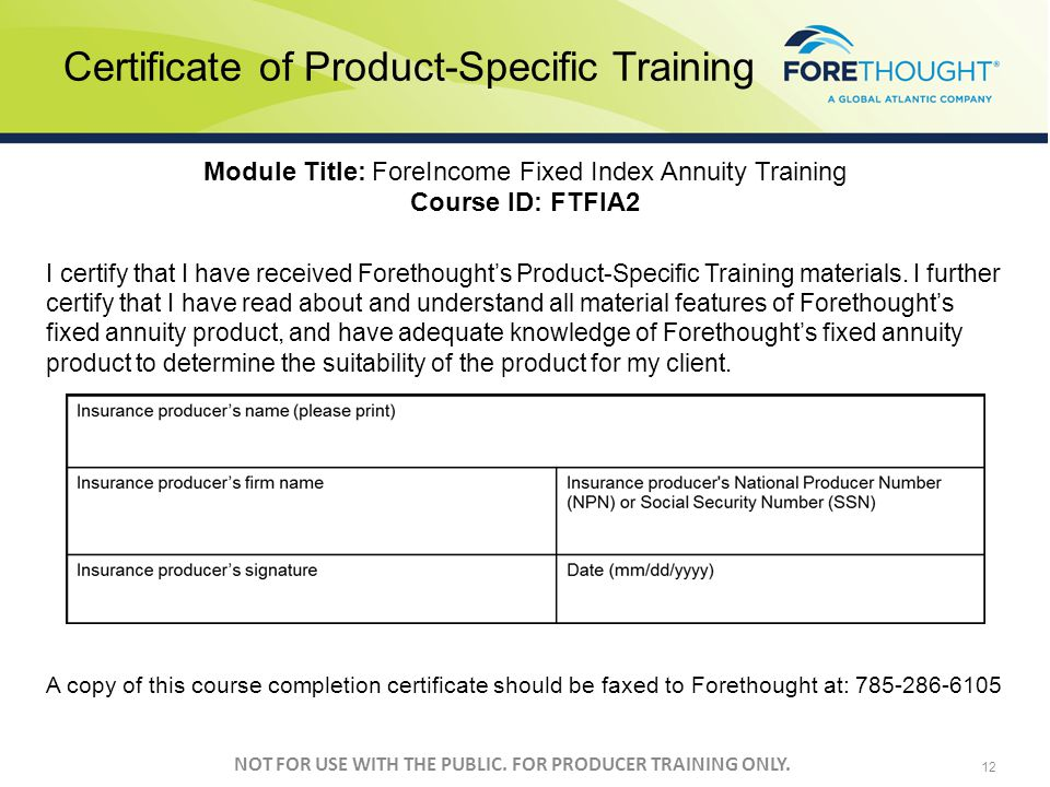 Certificate of Product-Specific Training