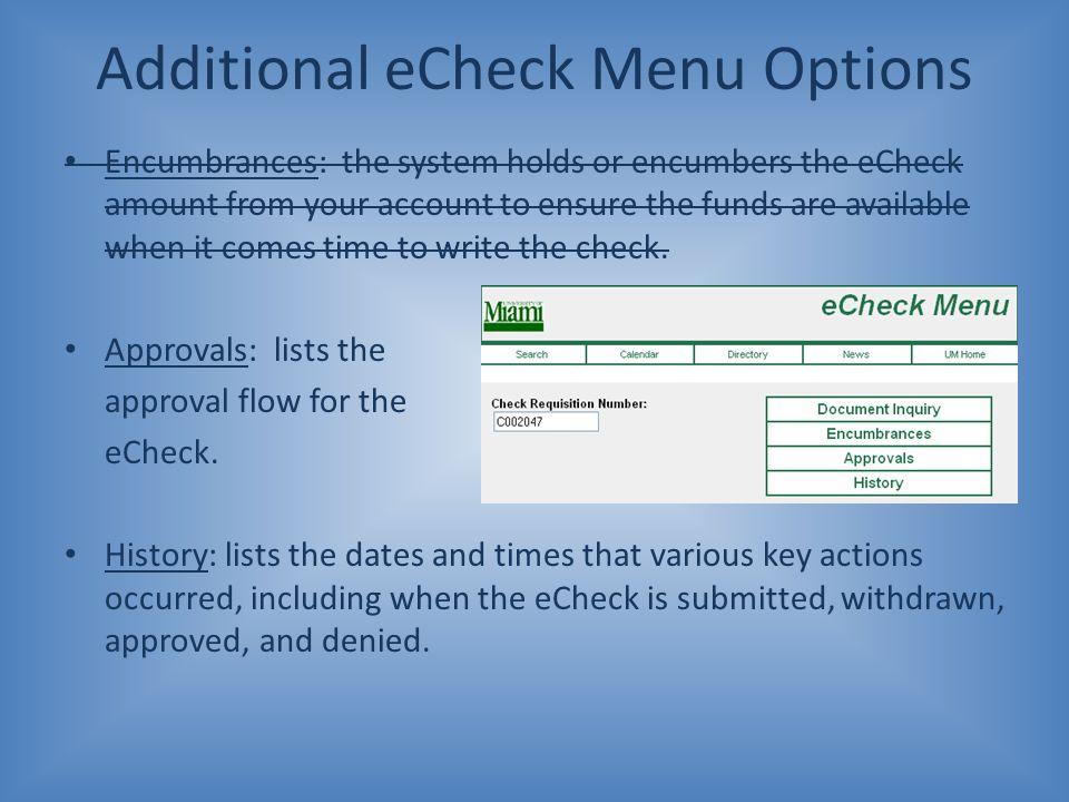 Additional eCheck Menu Options