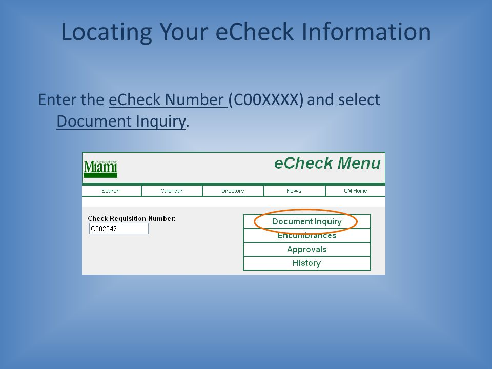 Locating Your eCheck Information