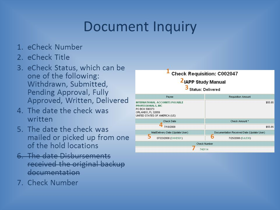 Document Inquiry eCheck Number eCheck Title