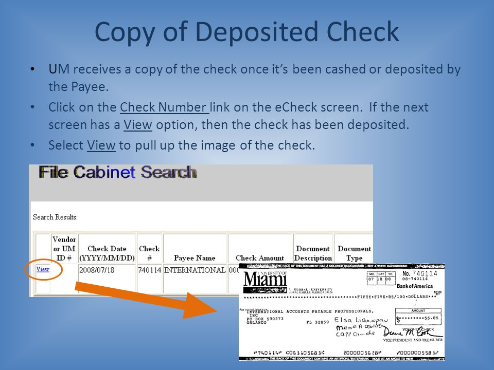 Copy of Deposited Check