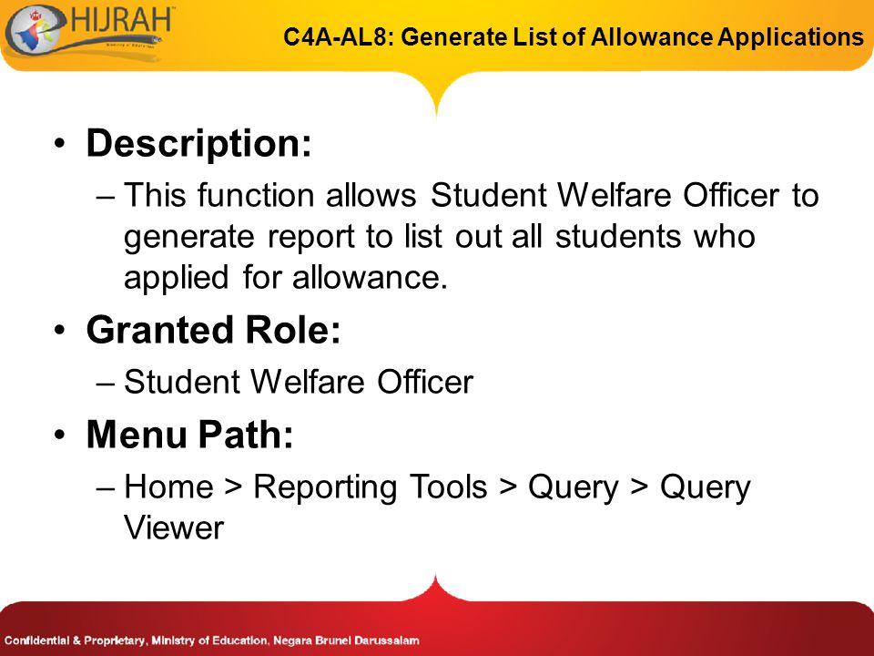 C4A-AL8: Generate List of Allowance Applications
