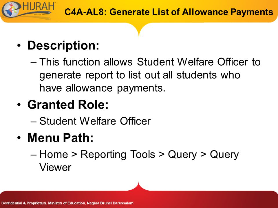 C4A-AL8: Generate List of Allowance Payments