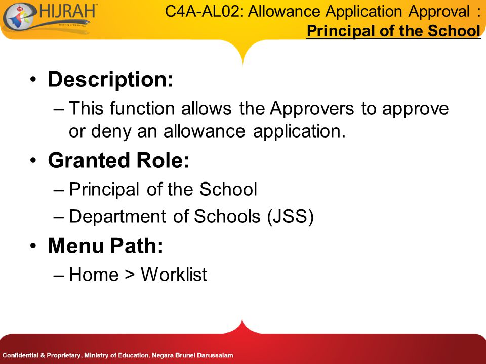 C4A-AL02: Allowance Application Approval : Principal of the School