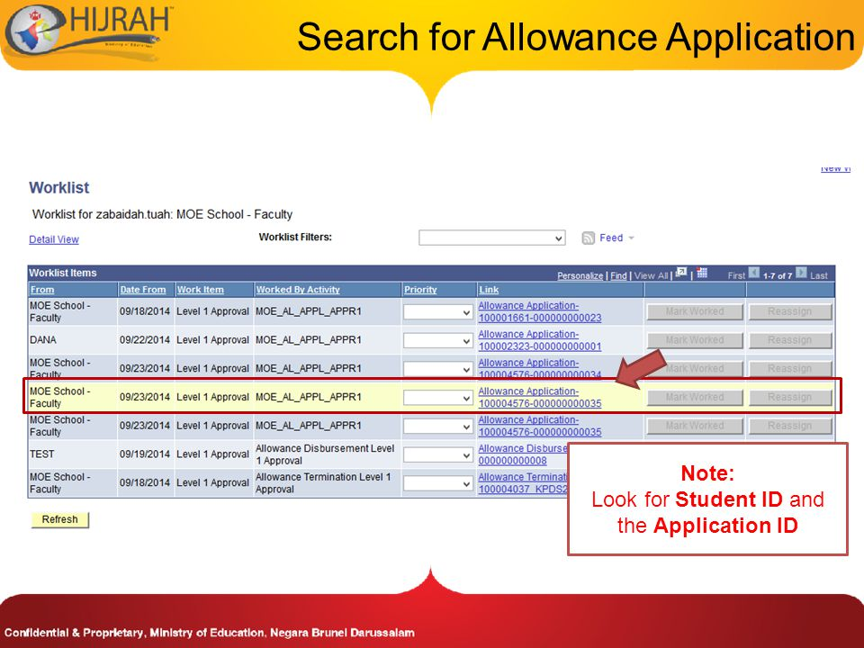 Search for Allowance Application