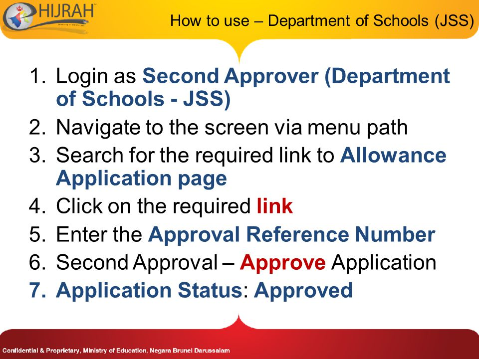 How to use – Department of Schools (JSS)