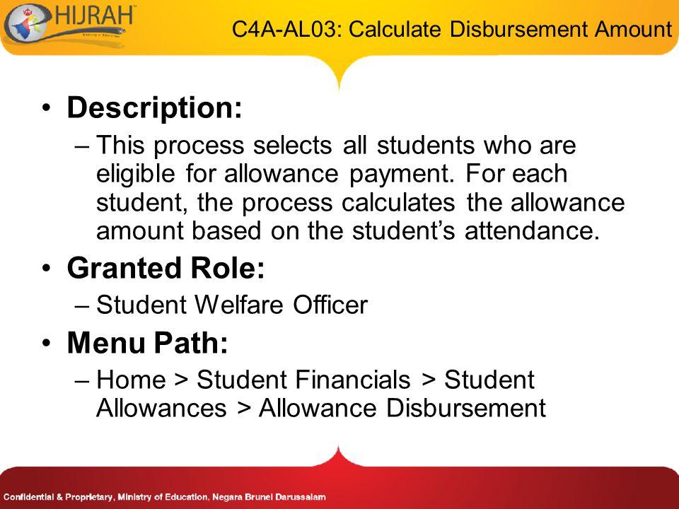 C4A-AL03: Calculate Disbursement Amount