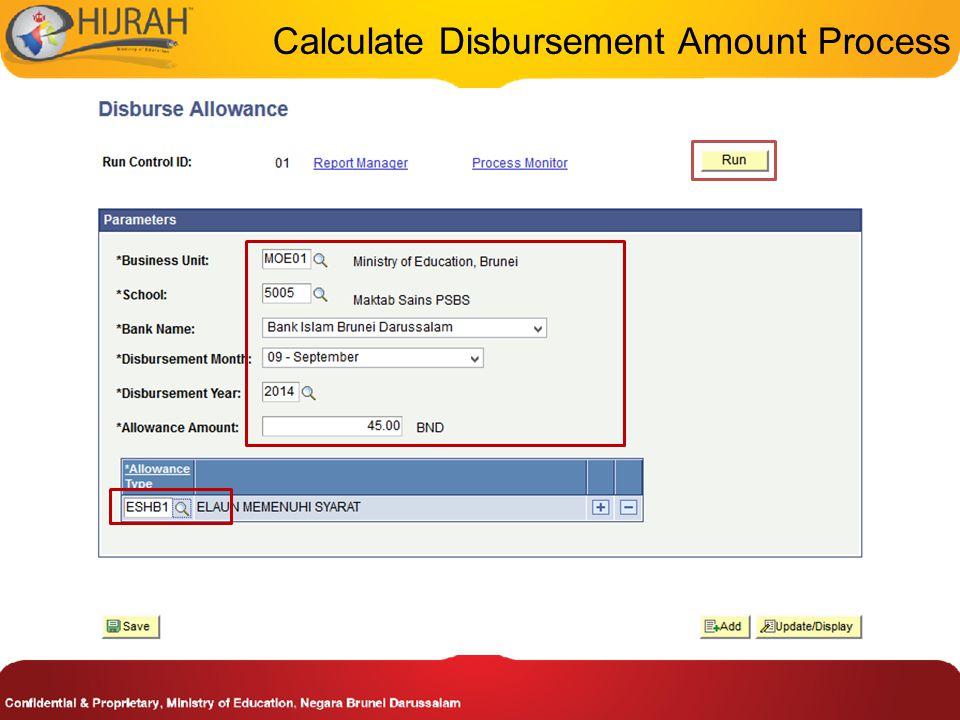 Calculate Disbursement Amount Process