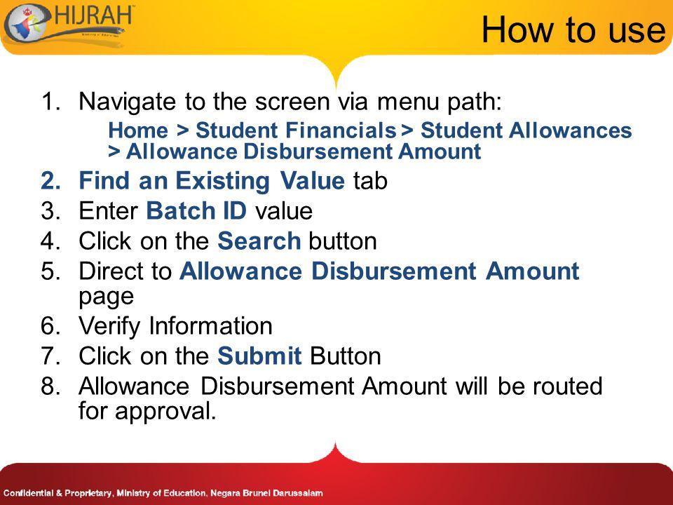 How to use Navigate to the screen via menu path: