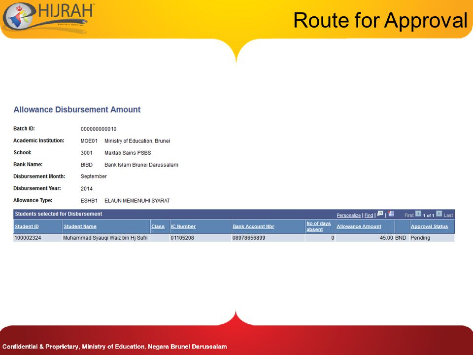 Route for Approval