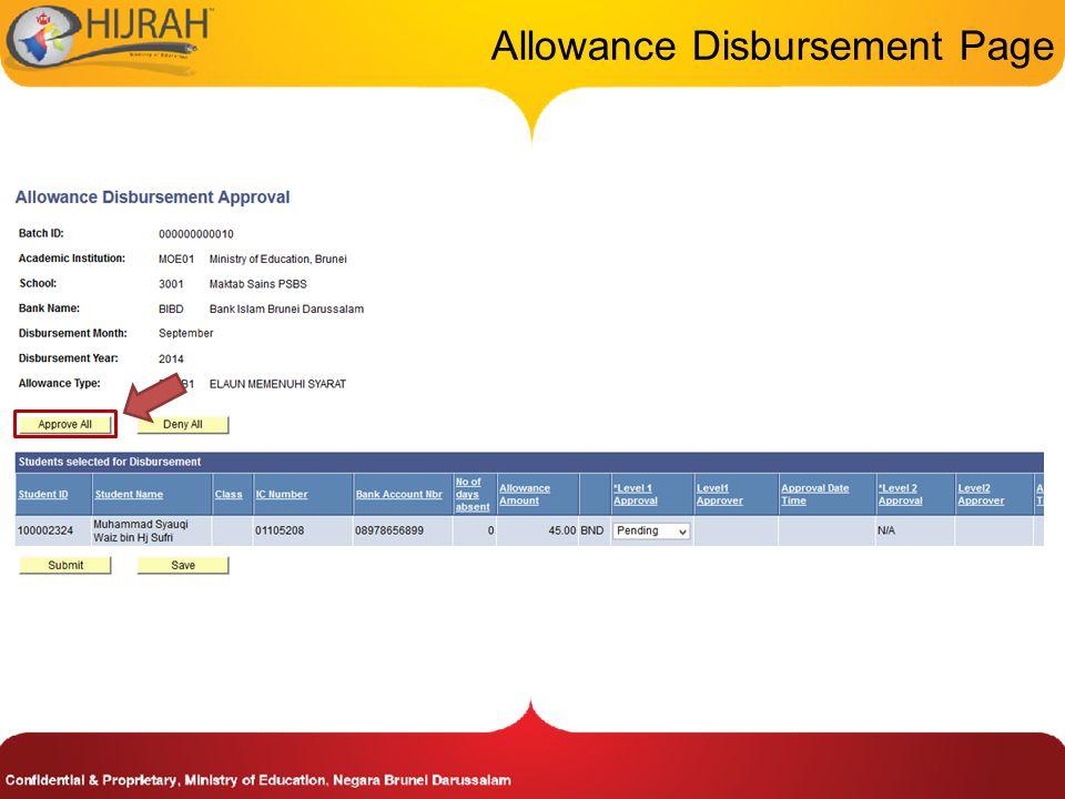 Allowance Disbursement Page