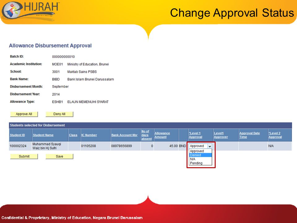 Change Approval Status