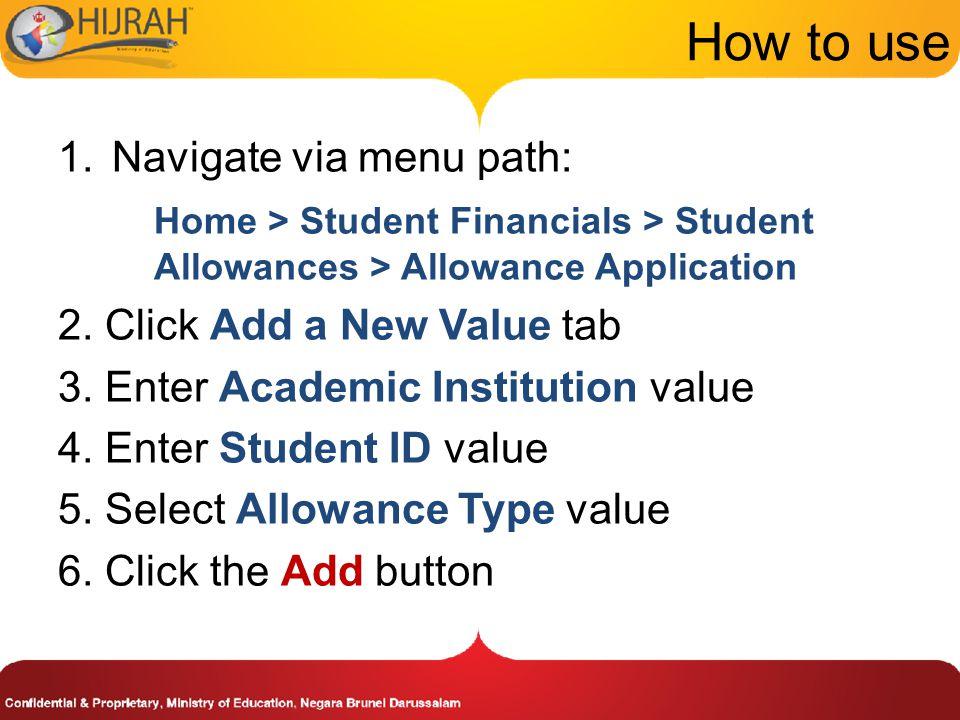 How to use Navigate via menu path: