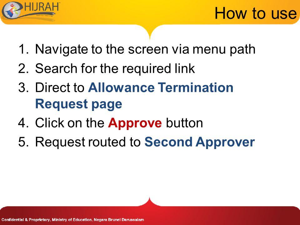 How to use Navigate to the screen via menu path