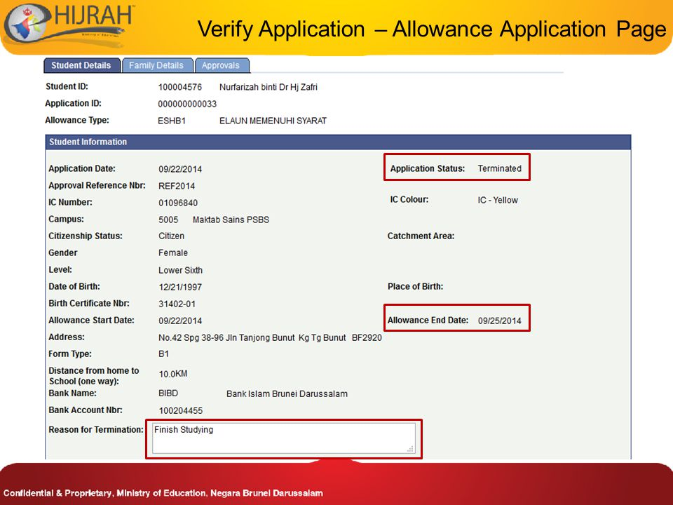 Verify Application – Allowance Application Page