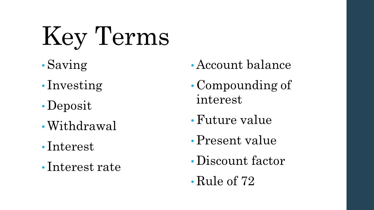 Key Terms Saving Investing Deposit Withdrawal Interest Interest rate
