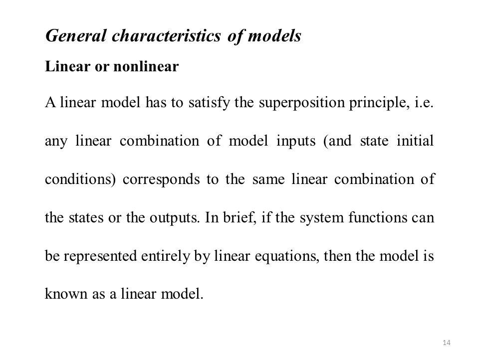 General characteristics of models