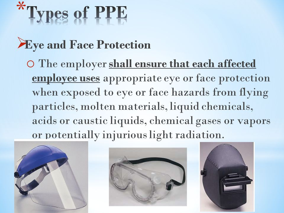 Types of PPE Eye and Face Protection