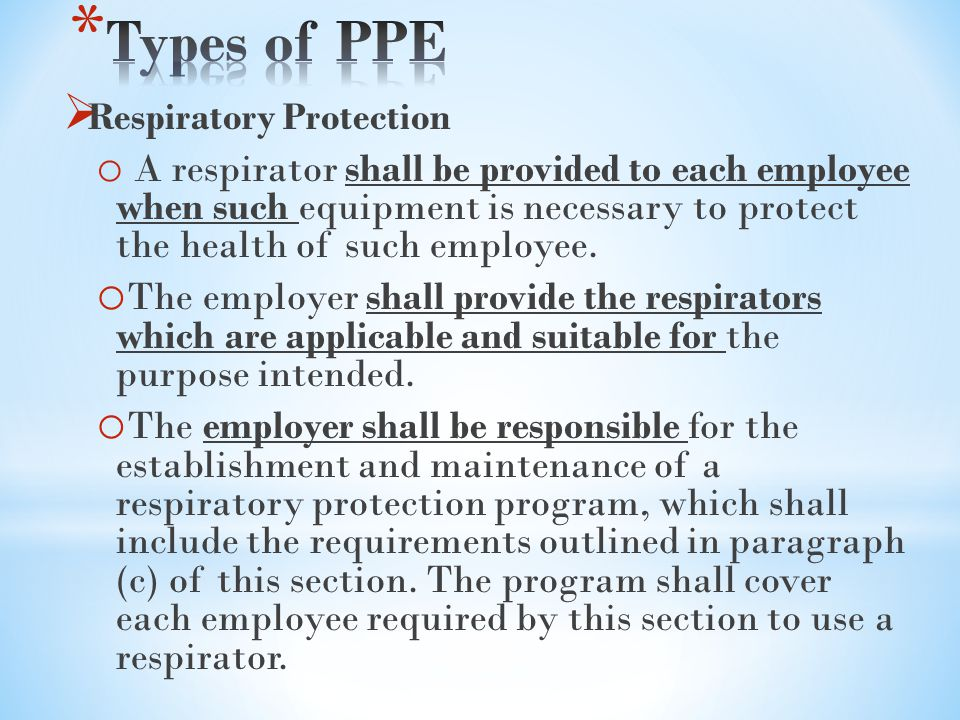 Types of PPE Respiratory Protection.