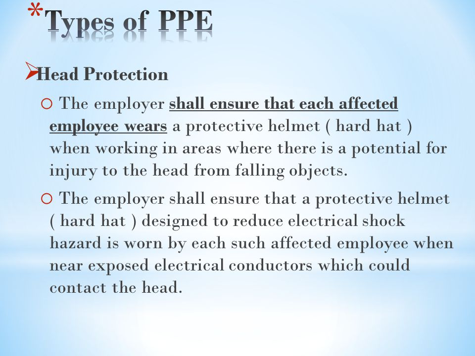 Types of PPE Head Protection