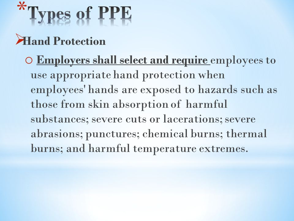 Types of PPE Hand Protection