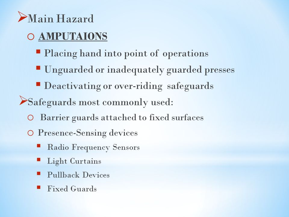 Main Hazard AMPUTAIONS Placing hand into point of operations