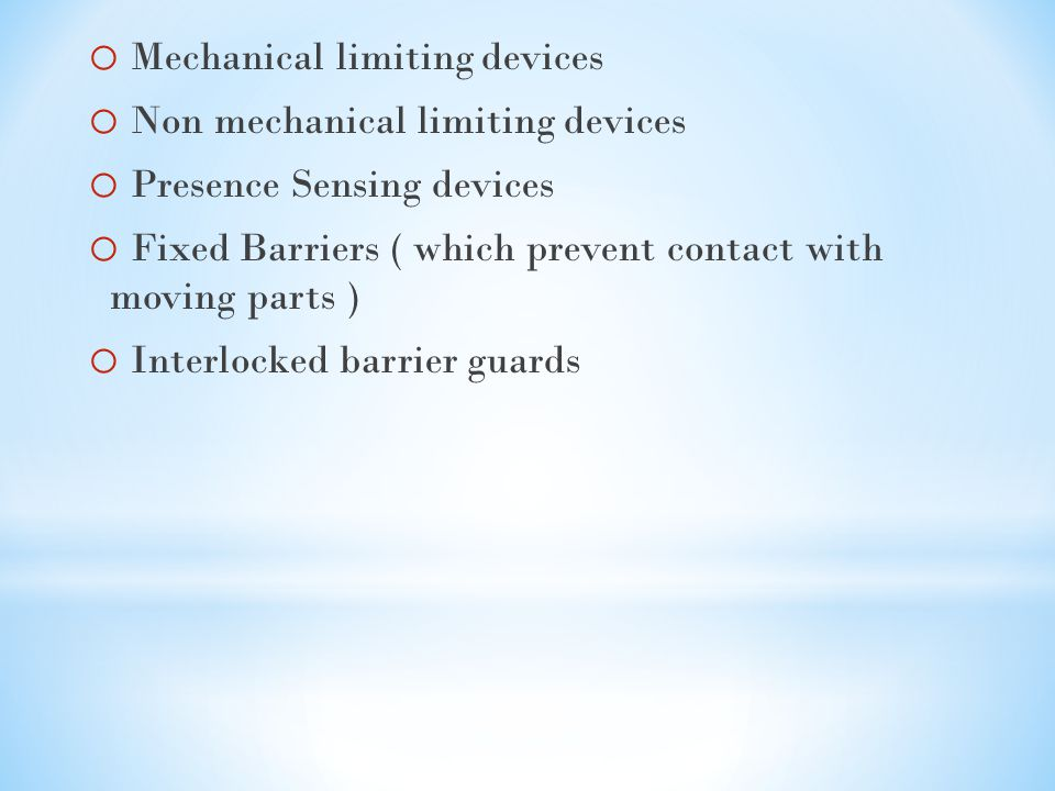 Mechanical limiting devices