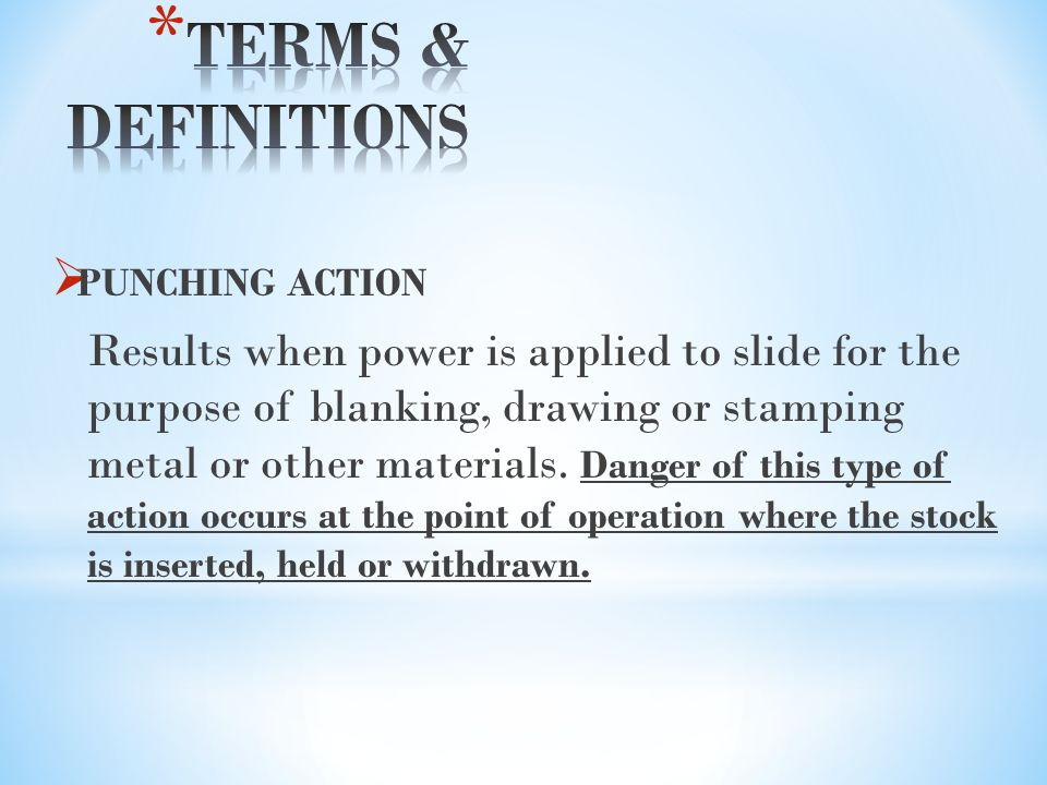 TERMS & DEFINITIONS PUNCHING ACTION.