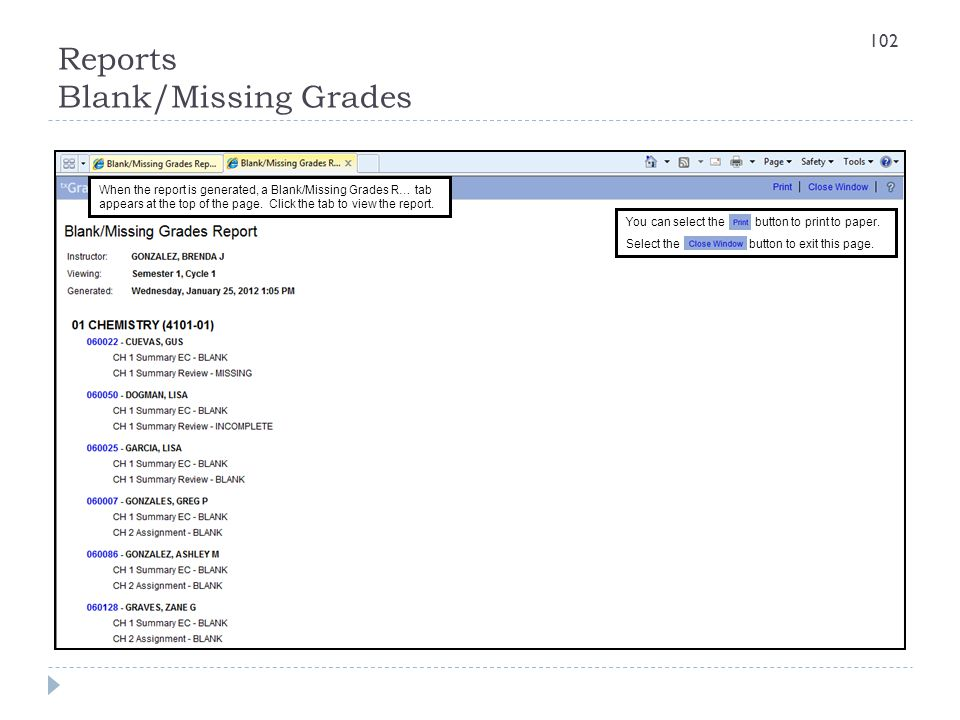 Reports Blank/Missing Grades