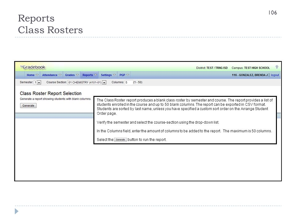 Reports Class Rosters